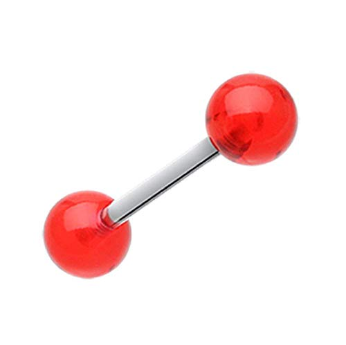 Tongue Uv Acrylic Red Rings (Covet Jewelry UV Acrylic Barbell Tongue Ring (Red))