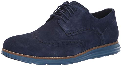 Cole Haan Men's Original Grand Shortwing Sneaker, Marine Blue Suede/Stellar, 14 M US