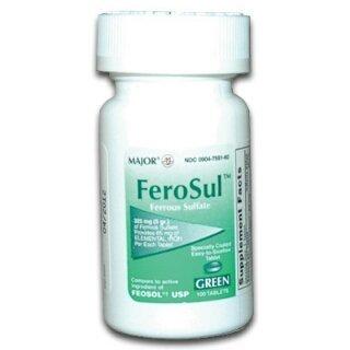 5gr Green - [3 PACK] FeroSul?325mg (5GR) Ferrous Sulfate Coated Easy-To-Swallow 100 ct. Tablets (Green) by Feosol