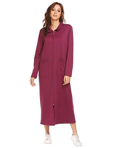 Vansop Ladies Bath Robes Womens Soft Knit Sleepwear Stand Collar Long Loungwear(Purple L)