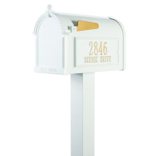 Whitehall Custom Premium Capitol Mailbox and Top Mount Post Package - Sand Cast Aluminum - White Personalized in Goldtone