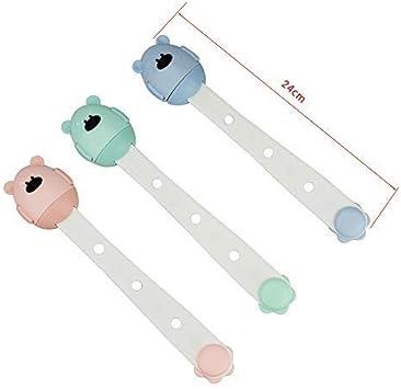 3 PCS Cajones y Gabinetes Verde + Rosa + Azul Cerraduras de Correas de Seguridad para Beb/és Cerraduras de Seguridad para Armarios para Beb/és TONWON Cerraduras de Seguridad para Ni/ños