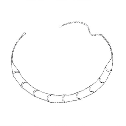 SILVER MOUNTAIN Short Necklace 925 Sterling Silver Double Layered Chain Crescent Moon Choker Necklace for Women Girls, 13