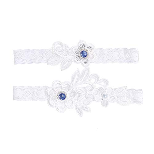 Amosfun 1 Pair Western Wedding Bride Garter Lace Rhinestone Bridal Foot Decor Floral Ornaments