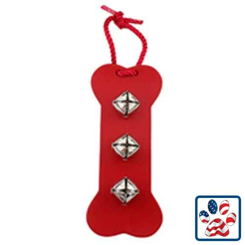 Leather Bone Bell Door Hanger - RED - by Auburn Leathercrafters