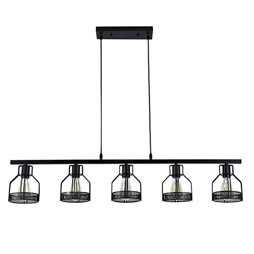 TaoTens Painted Finish Antique Black Metal Long Kitchen Island Light with 5 E26 Bulb Sockets 200W ()