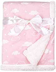 """American Baby Company Heavenly Soft Sherpa/Chenille Receiving Blanket for Girls, 3D Pink Cloud, 30"""" x 35"""""""