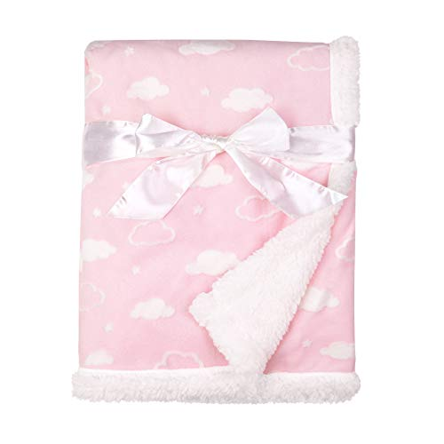 (American Baby Company Heavenly Soft Sherpa/Chenille Receiving Blanket, 3D Cloud Pink, 30