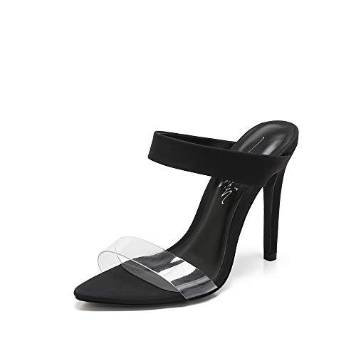 (Mackin Girl Sandlas G345-1 Women's TPU Clear Sandals Open Pointed Toe High Heel Slip On Mules Summer Dress Pump Heel (11, Black))