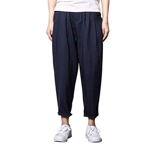 Uomo Stile Estate Casual Hennè Cotone Pantaloni Blue Marca Lino Di Denim In Bolawoo Mode Dritto Navy Cinese x1q07nv