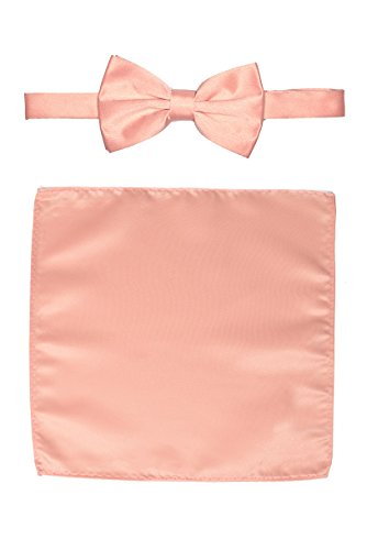 Men's Premium Bow Tie with Matching Pocket Square Set BowTie and Handkerchief For Suits or Tuxedos (Peach Bow ()