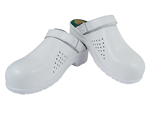 Kitchen hospital clogs with steel toe white pdpw93