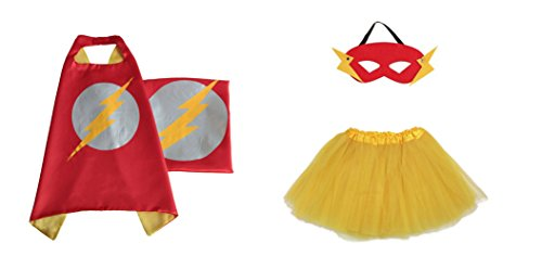 Rush Dance Kids Children's Deluxe Comics Super Hero CAPE & MASK & TUTU Costume (Flash (Yellow (Flash Costume Child)