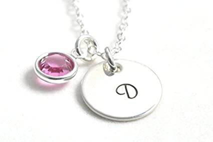 Amazon initial with birthstone hand stamped personalized initial with birthstone hand stamped personalized sterling silver necklace custom jewelry aloadofball Image collections
