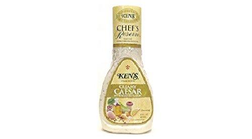 (Ken's Steak House Chef's Reserve Creamy Caesar with Roasted Garlic Dressing (Pack of 3) 9 oz Bottles)