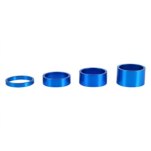 - Bike Headset Spacer Aluminum Alloy Stem Spacers Fork Washer 4Pcs/Set 5mm/10mm/15mm/20mm (Blue)
