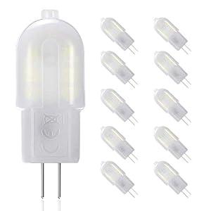 Gvoree, lampadine a LED G4, 2W, sostituisce lampadina alogena da 20W, AC/DC 12V, angolo di diffusione: 360°, bianco freddo 6000K, non dimmerabile, confezione da 10 15 spesavip