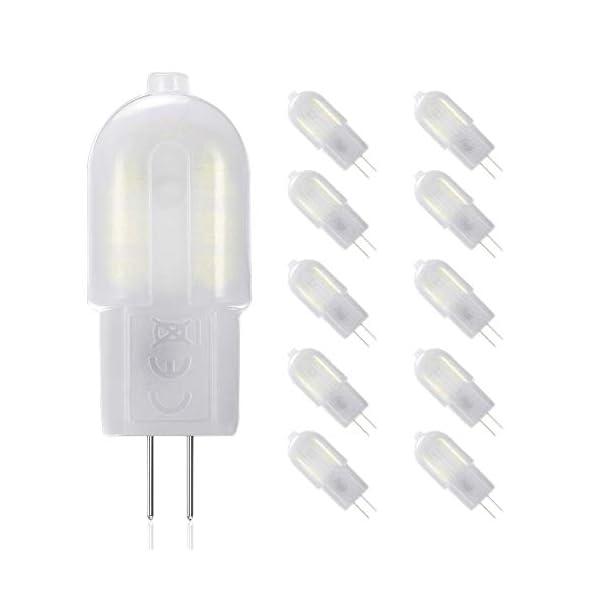 Gvoree, lampadine a LED G4, 2W, sostituisce lampadina alogena da 20W, AC/DC 12V, angolo di diffusione: 360°, bianco freddo 6000K, non dimmerabile, confezione da 10 1 spesavip