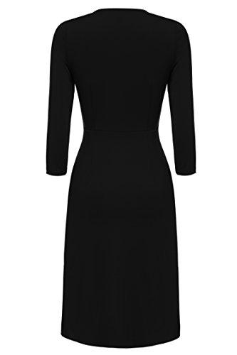 Col Mi Manches lgante Bureau Robe 3 Rond 4 longue Fronc Mariage Noir Femmes Robe et Keland fTpwEq0y