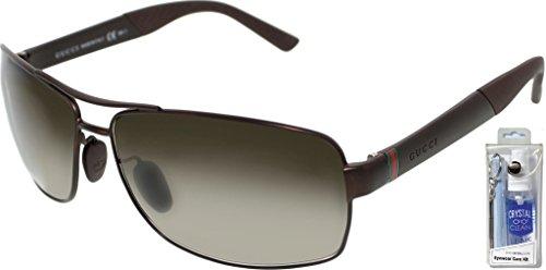 Gucci 2234/S 08EJ HA Brown/Brown Gradient Rectangular Sunglasses Bundle-2 - 2234 Gucci