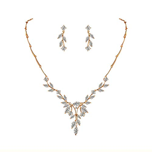 Costume Jewelry Formal (WeimanJewelry Women Marquise Cut Cubic Zirconia Leaf Bridal Y-Necklace and Dangling Earring Jewelry Set for Wedding (Gold))