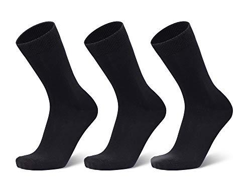 ANCHOR, Men's Full/Calf Length Cotton Business/Formal Socks, Free Size, Combo Pack of 3 (Navy Blue, Light Grey, Black, Dark Grey)
