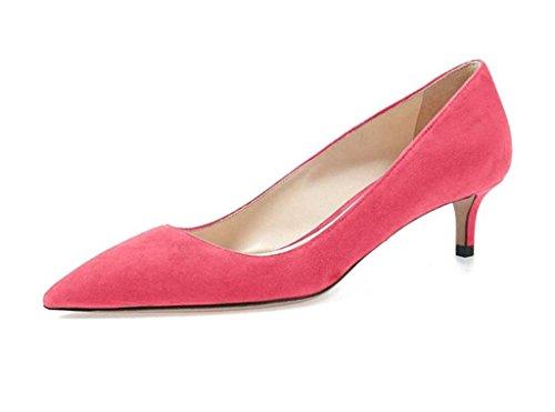 EDEFS Womens Pointed Toe Kitten Heel Court Shoes Mid-heel Pumps Dress Shoes Pink