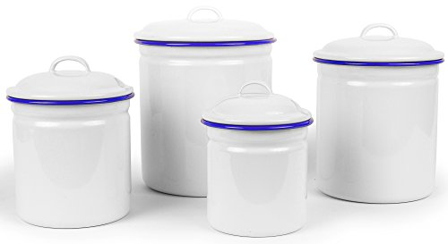 Enamelware 4 Piece Canister Set - Solid White with Blue Rim - Trim Enamelware