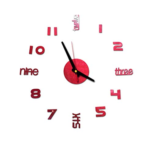 Konxxtt Wall Stickers Clock, Fashion 3D Frameless Wall Clock Personality DIY Circular Living Room Bedroom Home Decor(Red,Diameter 15.7