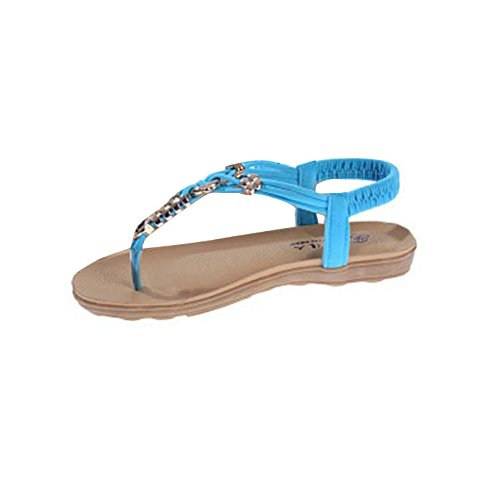 Vovotrade Dulce de la manera de Bohemia de las sandalias del verano del clip del dedo del pie de la mujer (EU tamaño 40, azul)