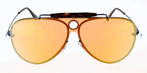 Ray-Ban RB3581N Blaze Shooter Aviator Sunglasses, Blue/Dark Orange Mirror, 32 mm (Ray Ban Orange Mirror Aviator)