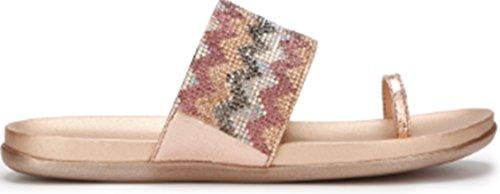Kenneth Cole REACTION Women's Slim Tricks 2 Toe Ring Sandal Flat, Rose Gold/Multi, 10 M US