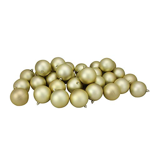 Northlight 32 Count Matte Champagne Shatterproof Christmas Ball Ornaments, 3.25 (80mm), Gold