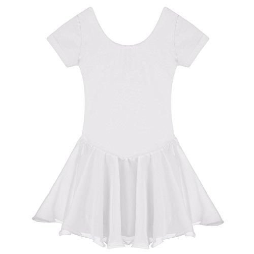 Arshiner Girls' Ruffle Sleeve Skirted Leotard, White 140 ()