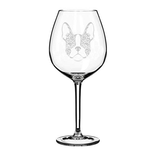 Wine Glass Goblet Laser Etched Frenchie French Bulldog Face Floral - 11 Oz (Etched Floral Wine Glasses)