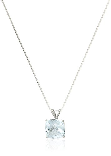14k White Gold Cushion Checkerboard Cut Aquamarine Pendant Necklace ()