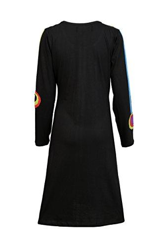 Vestido Y De Diseño… Circle Manga Negro Colorida Con Señoras Patch Larga PqHdxqf
