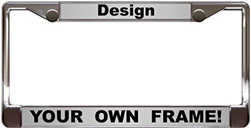 Custom Personalized Chrome Metal Car License Plate Frame with Free caps - Silver/Black