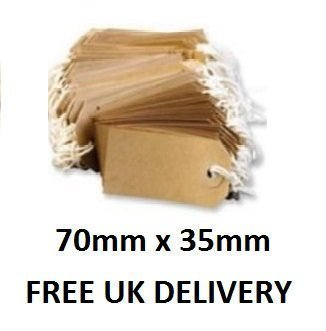 100 x Manilla Buff Strung Tags Tickets 70mm 35mm Luggage Labels ()