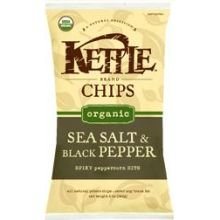 Kettle Foods Organic Sea Salt and Black Pepper Potato Chips, 5 Ounce - 15 per case.