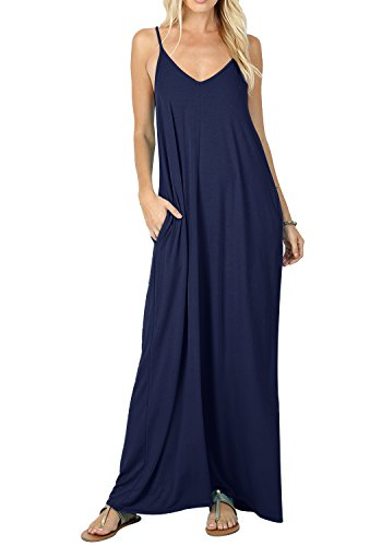 (CALIPESSA Women Sleeveless Pockets Casual Beach Maxi Cami Slip Dress Deep Blue L)