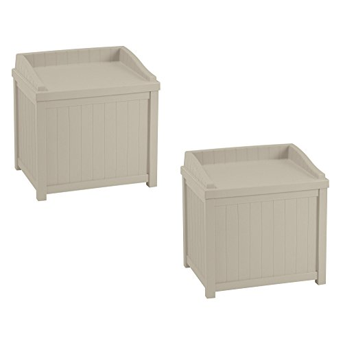 Suncast 22-Gallon Outdoor Deck Box with Seat, Light Taupe (2 Pack) by Suncast