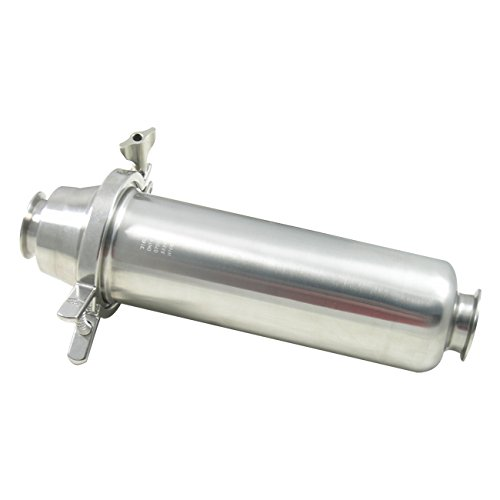 Dixon BSCCQ In-Line Filter / Strainer w/ 1/4'' Perforated Back-up Tube, 316L Stainless Steel - 2-1/2'' Tri-Clamp, 15.75'' OAL (Short) by Dixon Sanitary