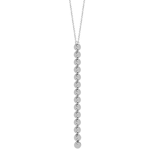14k White Gold Y-style Lariat Necklace with 4mm Disk Drop Adjustable Length by AzureBella Jewelry