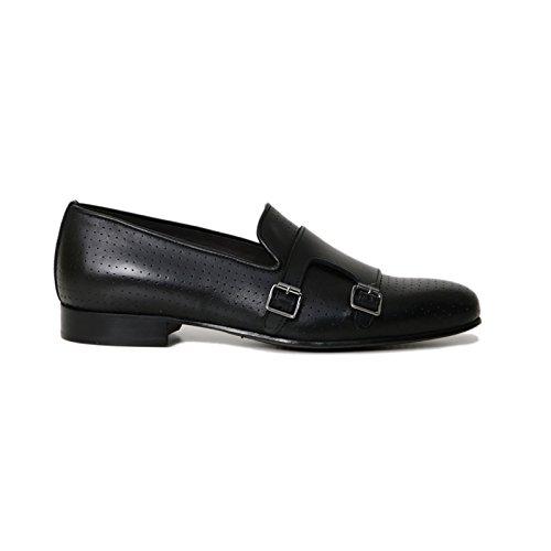 Scarpe Artigianali Uomo Doppia Fibbia di Colore Nero Calzature Italiane 100% Vera Pelle Loafer Shoes Double Monkstrap Made in Italy