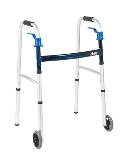 Drive Medical Trigger Release Folding Walker, Brushed Steel ()