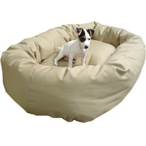 Majestic Pet 52-Inch Bagel Bed for Pets, Khaki, My Pet Supplies