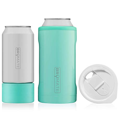 BrüMate HOPSULATOR TRíO 3-in-1 Stainless Steel Insulated Can Cooler, Works With 12 Oz, 16 Oz Cans And As A Pint Glass (Aqua - Maine Cucumber