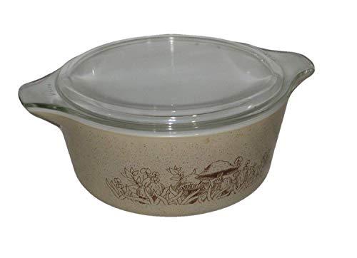 Vintage 1980's Pyrex Forest Fancies Beige w/ Mushrooms 2 1/2 Quart Casserole Baking Dish w/ Clear Lid