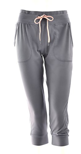 Price comparison product image Green Tea Ladies Active Capri Gathered Pants Light Gray (Multiple Sizes) (Medium)